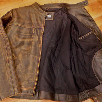 New Schott NYC RACER Cowhide GRATTEE Leathers SIZE 4XL   RARE JACKET sale !!!!!