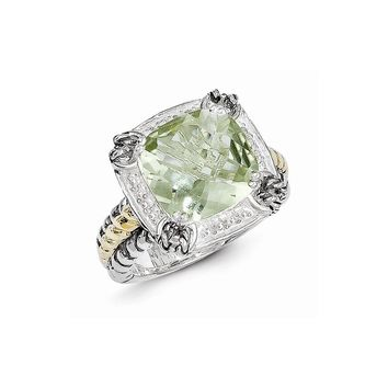 Antique Style Sterling Silver 6.77Green Amethyst Ring