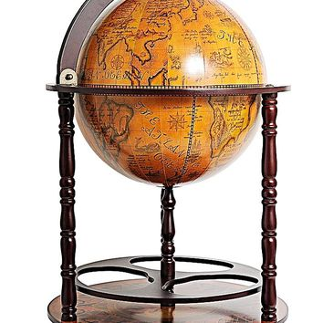 Old Nautical Wood Globe Drink Cabinet With Bottom Shelf
