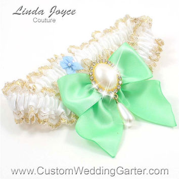 White and Mint Green WEDDING GARTER Gold Bridal Lace Garter 112 White 531 Mint Green Prom Garter Plus Size & Queen Size Available too