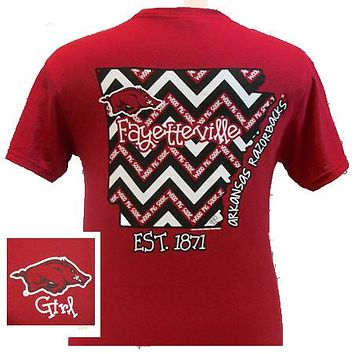 SALE Arkansas Razorbacks Girlie State Chevron Bright T Shirt