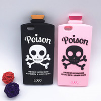 NEW 3D Halloween Terrorist Skull Bottle Cover Chill Pills Poison Soft Silicon Case For iPhone SE 5 5S 5C 6 6S 7 7S & Plus