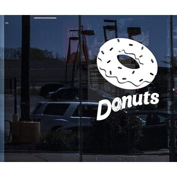 Window Sign Vinyl Wall Decal Donuts Confectionery Sweet Shop Food Truck Stickers Mural Unique Gift (ig5159w)