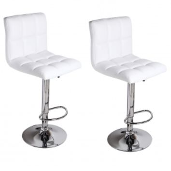 Adeco White Leatherette Faux Tufted Adjustable Barstool Chair Chrome Finish Pedestal Base (Set of two)