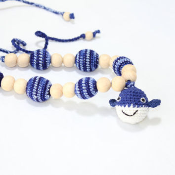Nursing necklace / Teething necklace / Doll / Crochet Necklace for mom and child / Breastfeeding Jewelry for Mom / Crochet sling necklace