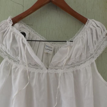 Vintage White Lace Cotton Mexican Peasant Blouse Square Dancing Shirt Country Traditional Folk  Medium Large Sleepwear Short Teddy Lingerie