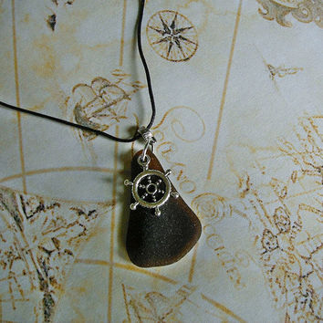 Brown sea glass necklace. Nautical beach glass necklace. Seaglass jewelry.