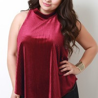 Velvet Ribbed Mock Sleeveless Top