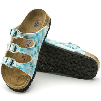 Sale Birkenstock Florida Soft Footbed Birko Flor Pixel Blue 1004195 Sandals