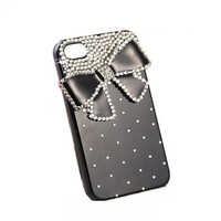 Handmade hard case for iPhone 4 & 4S: Bling elegant diamond bow (custom are welcome)