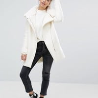 Pull&Bear Faux Fur Lined Zip Front Coat at asos.com