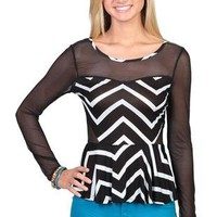 high low peplum top with zig zag print and mesh illusion sleeves - 1000051975 - debshops.com