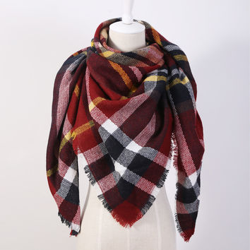 Plaid Triangle Scarf/Shawl