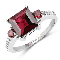 A Perfect Genuine 3.37CT Princess Cut Pink Red Rhodolite & White Topaz Engagement Ring