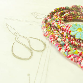multi braided fabric scarf necklace by ATLIART on Etsy