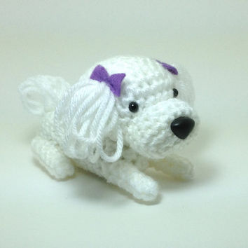 SALE / Maltese Amigurumi Dog Crochet Dog Stuffed Animal Doll / Made to Order
