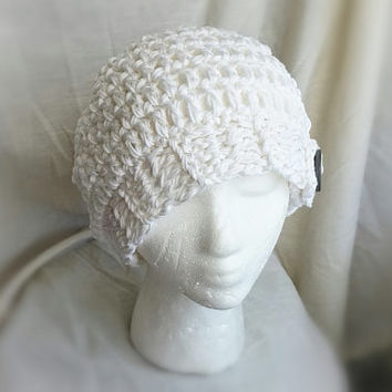 White  cotton hat Crochet  slouch Summer sun cloche Beanie hat with vintage big grey button Ladies teen girls Super chunky cap