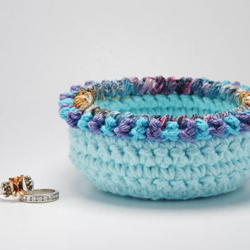 Engagement ring dish, engagement gift, crochet bowl, bohemian decor, wedding ring dish, blue crochet bowl, soft jewelry storage, for her