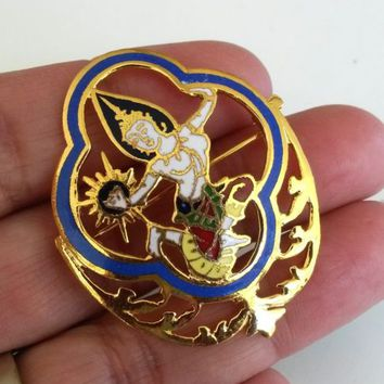 Vtg Thailand Mekkala Dancer Enamel Pin Cut Out Gold Tone Brooch