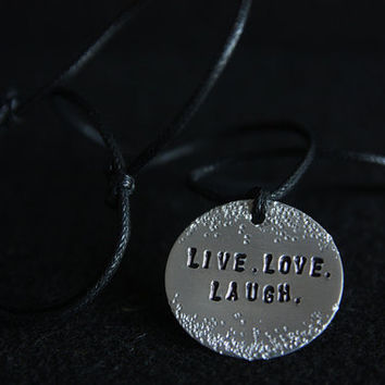 Live Love Laugh, Handmade Adjustable Necklace with Aluminium Medallion