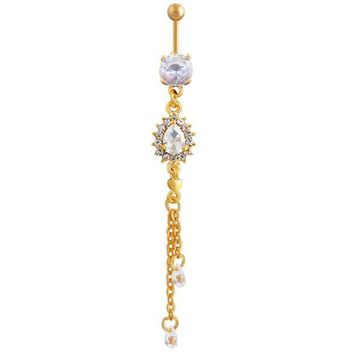 ac PEAPO2Q Dangle Long Tassel Drop Crystal Navel Bell Button Rings Women Sexy Belly Dance Piercing Body Jewelry Summer Style