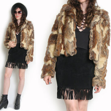 90s does 70s Faux Fur Jacket - Rock N Roll Fur Coat - Shaggy Fur Coat - Glam Rock - Boho Bohemian - Patchwork Fur - Cropped Fur Coat