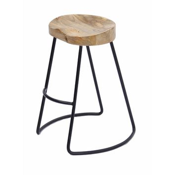 Attractive Wooden Barstool with Iron Legs (Short) By The Urban Port
