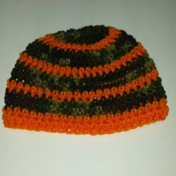 Camo and orange baby boy beanie!