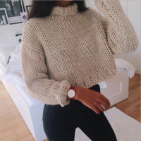 High - Necked Crop Top Sweater N40063 B0015310