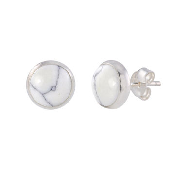 Sterling Silver White Turquoise Gemstone Earrings 9mm Round Studs