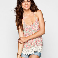 H.I.P. Boho Print Womens Hi Neck Crochet Trim Tank Multi  In Sizes