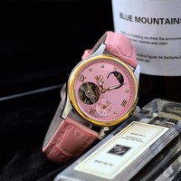 HCXX O019 Omega Quartz Chronometer CO-AXIAL 8500 Cowhide Strap Watches Pink 320