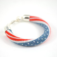 USA Flag Patriotic 4th Of July  - Beaded Bracelet  Bead Crochet Bracelet White Blue Red Multi-Colored  Minimalist Beadwork Jewelry Unisex