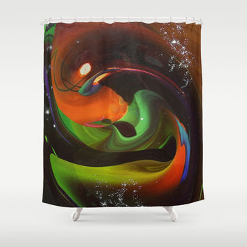 An Alien Orange Shower Curtain by Minx267