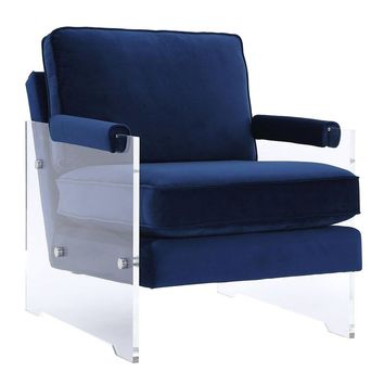 Serena Navy Floating Velvet/Lucite Chair