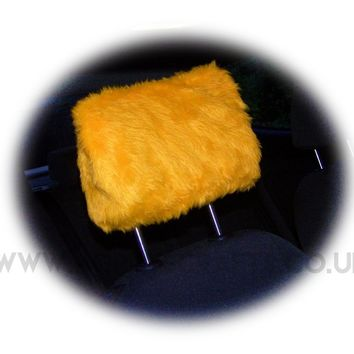 Marigold Orange fluffy faux fur car headrest covers 1 pair
