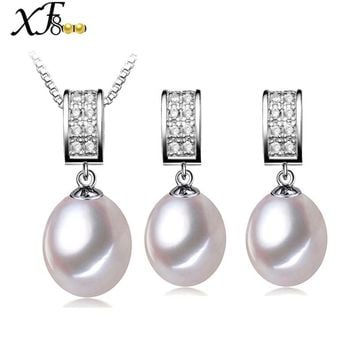 [XF800]Wedding Pearl Jewelry Set Natural Freshwater Pearl Necklace Pendant Earrings Trendy Party Gift For Women Pentagram[T227]