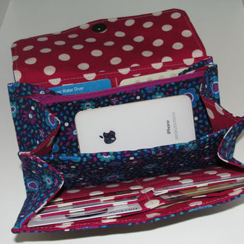 Necessary Clutch Wallet, RTS, Handmade with Blue floral print fabric & polka dot lining, NCW, Accordion, Credit Card Slots, iPhone, Wristlet