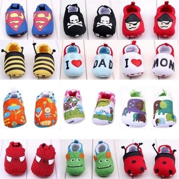 1pair Lovely Novelty Cartoon Toys Sandal Baby Boy Girl Crib Slippers Soft Anti-slip Sole Toddler Walker Shoes Newborn Length 11c