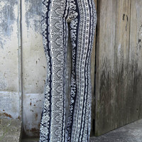 Paradise Found Navy & White Mixed Paisley Print Bell Bottoms