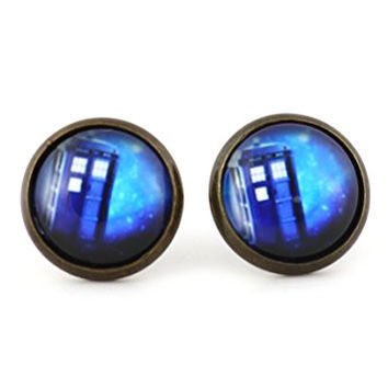 Police Box Stud Earrings Gold Tone EM47 British UK Art Dome Posts Fashion Jewelry