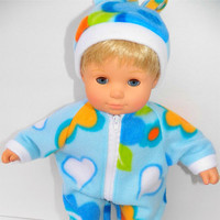 "American Girl Bitty Baby Clothes 15"" Doll Clothes Light Blue Floral Polar Fleece Zip Up Pajamas and Hat"