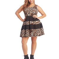 Animal Print Scuba Skater Dress | Wet Seal+