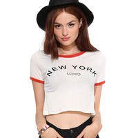 New York Soho Graphic Print White Crop Shirt with Red Trim