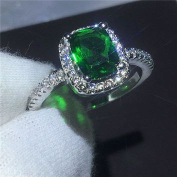 Christmas ring cushion cut Green 5A Zircon Crystal 925 Sterling silver Engagement wedding band rings for women Festival Gift
