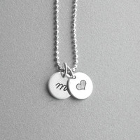 Initial Heart Necklace, Personalized Heart Necklace, Initial Necklace, Hand Stamped Jewelry, Charm Necklace, Sterling Silver Jewelry