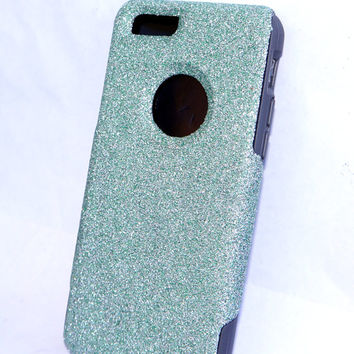 Custom iPhone 6 (4.7 inch) Glitter Otterbox Commuter Cute Case,  Custom  Glitter Teal / Grey Otterbox Color Cover for iPhone 6