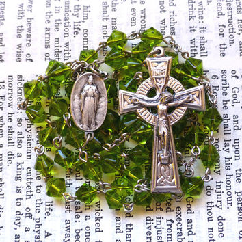 Our Lady of Knock Rosary - Irish Rosary, Celtic, Faceted Light Green Glass Beads
