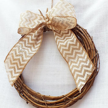 Grapevine Wreath With Chevron Burlap Bow, Barn Wedding, Burlap Wedding Decor, Set Of Two