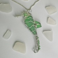 Green Sea Glass Wire Wrapped Seahorse Pendant